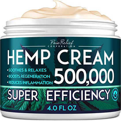 Hemp Pain Relief Cream 500,000 - Natural Hemp Extract Cream for Arthritis, Back Pain & Muscle Pain Relief - Efficient Inflammation Cream & Carpal Tunnel Relief - Made in USA - Good for Skin Health