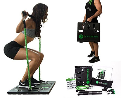 BodyBoss Home Gym 2.0 by 1Loop - Full Portable Gym Workout Package, Includes 1 Set Of 2 Resistance Bands - Collapsible Resistance Bar, 2 Handles + more - Full Body Workouts For Home, Travel or Outside