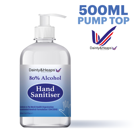 500ml Dainty & Heaps Pump Top 80% Liquid Hand Sanitiser - Case of 25