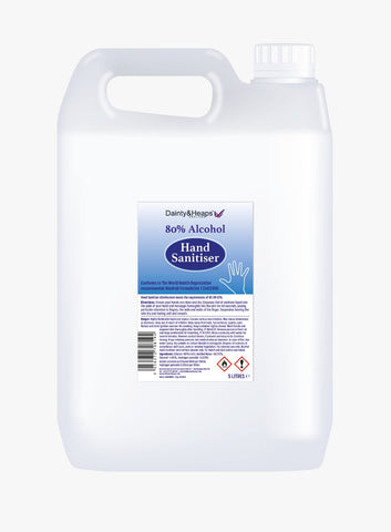 5L Dainty & Heaps 80% Liquid Hand Sanitiser - Case of 4