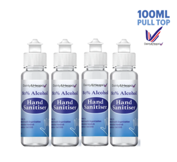 100ml Dainty & Heaps Pull Top Liquid Hand Sanitiser - Pack of 4