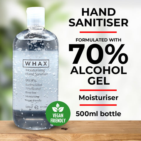 WHAX Hand Sanitiser Gel with 70% alcohol - 500ml - Case of 12