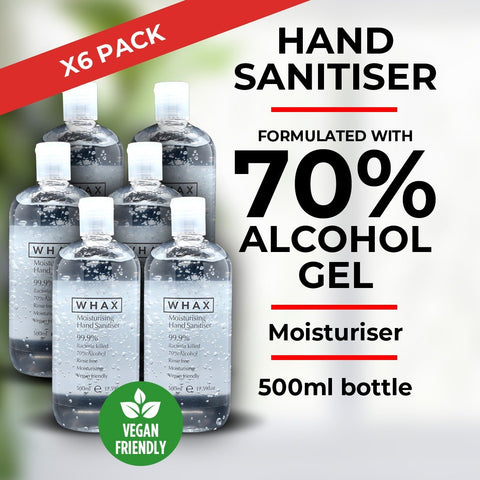 WHAX Hand Sanitiser Gel with 70% alcohol - 500ml - Pack of 6