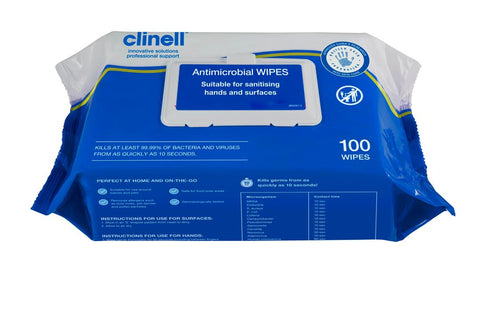 Antimicrobial Wipes - Pack of 100 - Case of 18