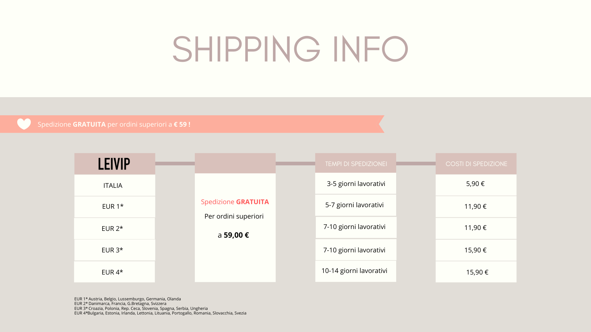 LEIVIP SHIPPING & RETURNS