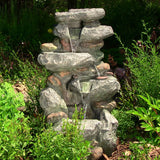 "Outdoor Classics 34"" Rock Falls Fountain with LED Lights"