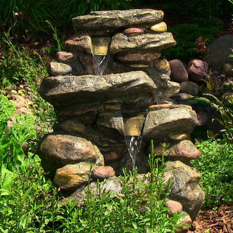 "Outdoor Classics 27"" Rock Falls Fountain with LED Lights - ZenWaterFountains.com  - 1"