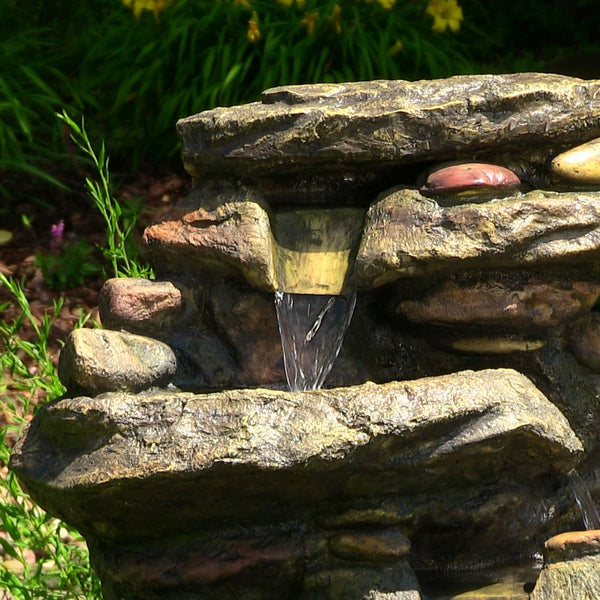"Outdoor Classics 27"" Rock Falls Fountain with LED Lights"