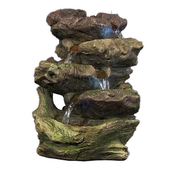 5-Step Rock Falls Tabletop Fountain w/LED Lights