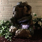 Outdoor Classics Rock and Wood Fountain w/LED Light