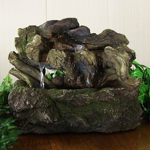 Aged Tree Trunk Tabletop Fountain w/LED Lights - ZenWaterFountains.com  - 1