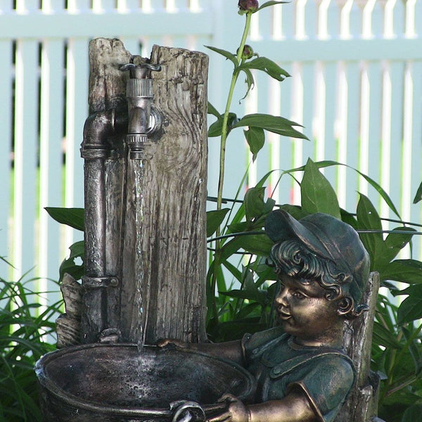Boy and Dog Fetching Water Outdoor Fountain with LED Light