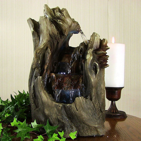 Cascading Caves Waterfall Tabletop Fountain w/ LED Lights - ZenWaterFountains.com  - 1