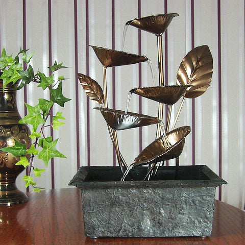 Cascading Five Leaves Tabletop Fountain w/ LED Light - ZenWaterFountains.com  - 1