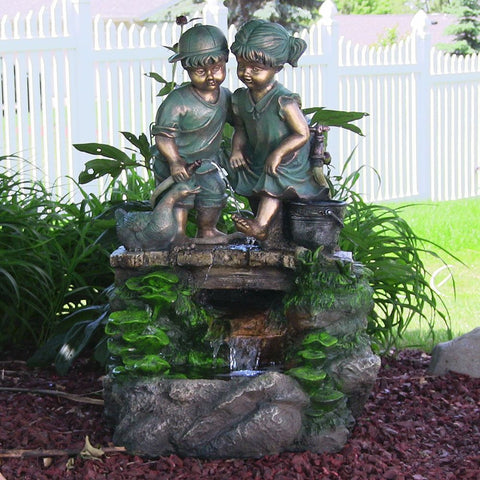 Children Discovering Nature Outdoor Water Fountain with LED Light - ZenWaterFountains.com  - 1