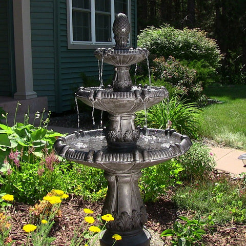 Classic Pineapple 3 Tier Fountain in Black Finish - ZenWaterFountains.com  - 1