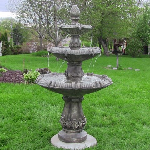 Classic Pineapple 3 Tier Fountain in Greystone Finish - ZenWaterFountains.com  - 1