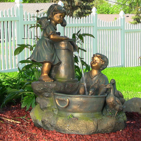 Country Children and Water Pump Fountain w/LED Lights - ZenWaterFountains.com  - 1
