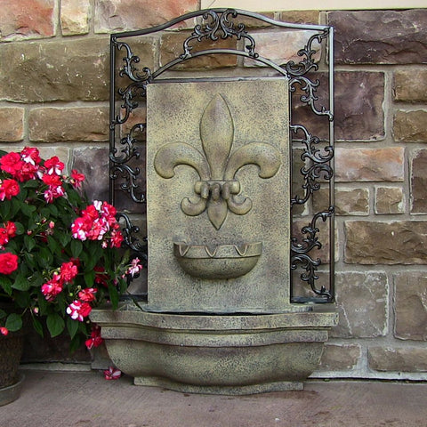Sunnydaze French Lily Outdoor Wall Fountain - ZenWaterFountains.com  - 1