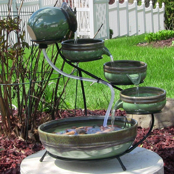 Green and Sand Ceramic Cascade Solar Fountain