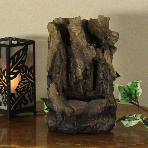 Hollowed Log Tabletop Fountain w/LED Lights - ZenWaterFountains.com  - 1