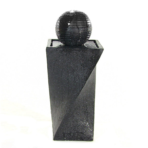 Contemporary Solar on Demand Black Ball Garden Fountain