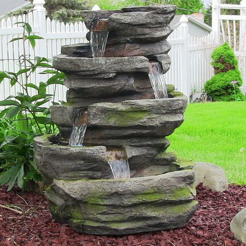 Lighted Cobblestone Garden Fountain w/LED Lights - ZenWaterFountains.com  - 1