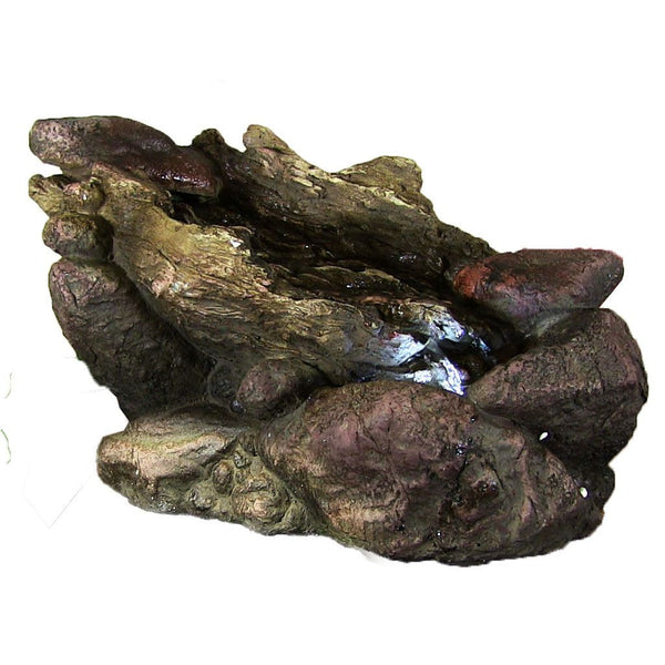 Log And Stone Tabletop Fountain W/ LED Lights ...
