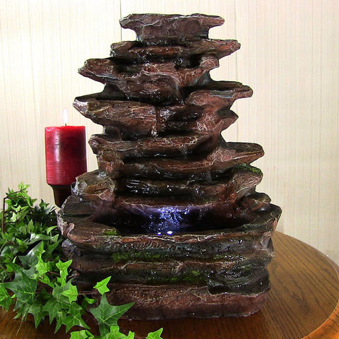 Soothing Rock Falls Tabletop Fountain w/ LED Lights - ZenWaterFountains.com  - 1