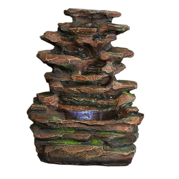 Soothing Rock Falls Tabletop Fountain w/ LED Lights