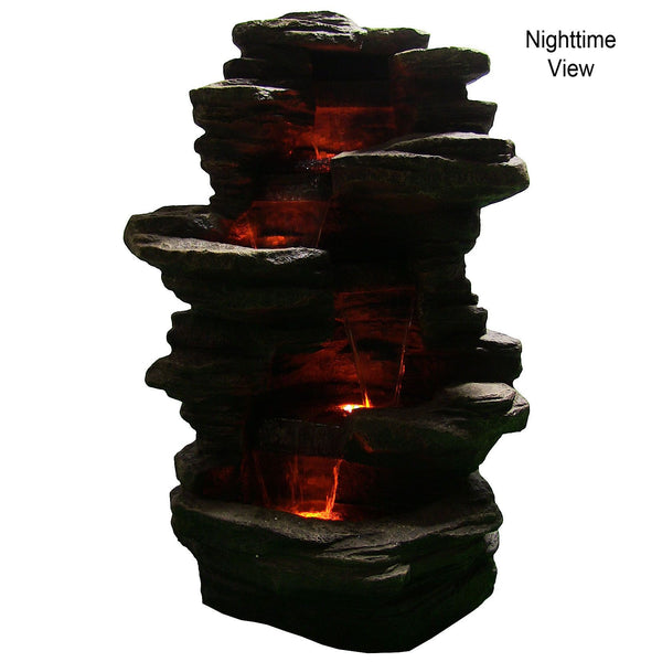 Stacked Shale Outdoor Water Fountain w/ LED Lights