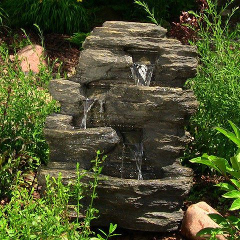 "24"" Rock Falls Fountain with LED Lights - ZenWaterFountains.com"