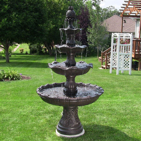 4-Tier Grand Courtyard Fountain - Dark Chestnut - ZenWaterFountains.com  - 1