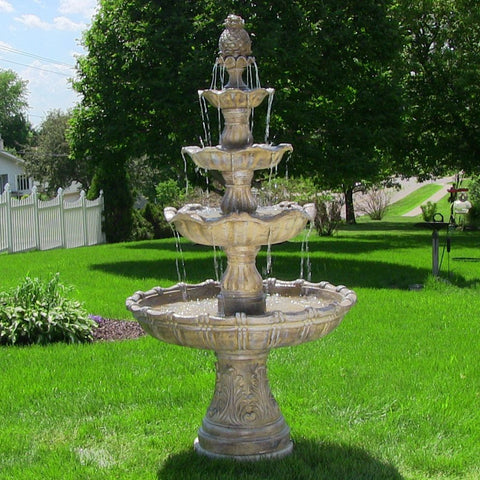 4-Tier Grand Courtyard Fountain - Earth Finish - ZenWaterFountains.com  - 1