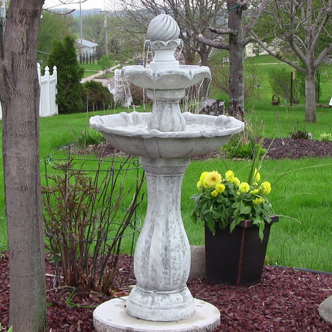 "Sunnydaze 45"" 2-Tier Arcade Solar on Demand Fountain with LED Light - White - ZenWaterFountains.com  - 1"