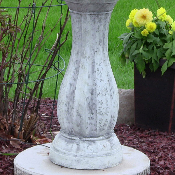 "Sunnydaze 45"" 2-Tier Arcade Solar on Demand Fountain with LED Light - White"