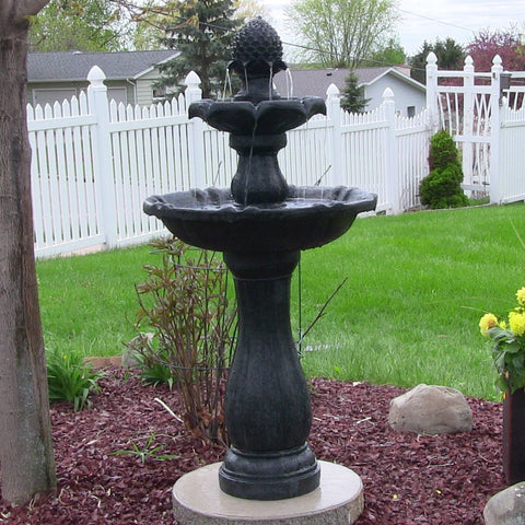 "Sunnydaze 46"" 2-Tier Pineapple Solar On Demand Fountain-Black - ZenWaterFountains.com  - 1"