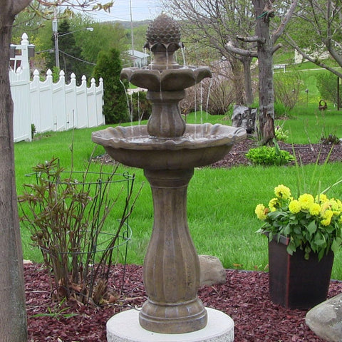 "Sunnydaze 46"" 2-Tier Pineapple Solar On Demand Fountain-Earth - ZenWaterFountains.com  - 1"