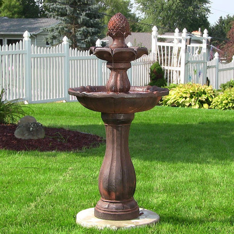 "Sunnydaze 46"" 2-Tier Pineapple Solar On Demand Fountain-Rust - ZenWaterFountains.com  - 1"