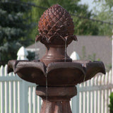 "Sunnydaze 46"" 2-Tier Pineapple Solar On Demand Fountain-Rust"
