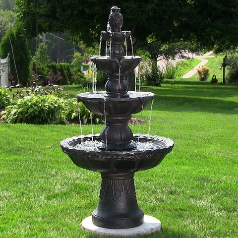 Black 4-Tier Pineapple Fountain - ZenWaterFountains.com  - 1
