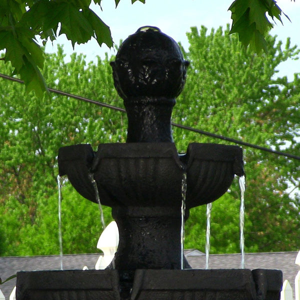 Black Flower Blossom 3-Tier Water Fountain