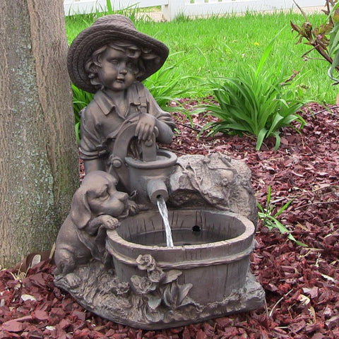 Sunnydaze Boy with Dog Solar On Demand Fountain with LED Light - ZenWaterFountains.com - 1