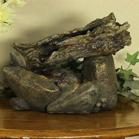 Fallen Log on River Rock Tabletop Fountain with LED Light - ZenWaterFountains.com  - 1