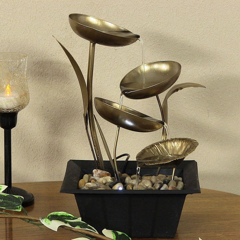 Four Leaf Cascading Tabletop Fountain with LED Lights - ZenWaterFountains.com  - 1