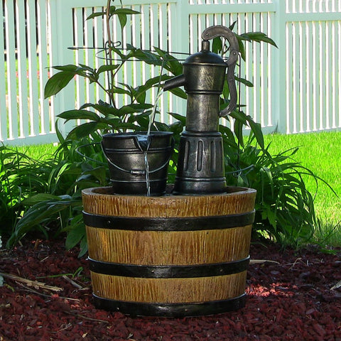 Old Fashioned Water Pump with Barrel Solar-on-Demand Fountain - ZenWaterFountains.com  - 1