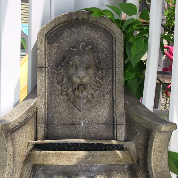 Regal Lion Corner Outdoor Floor Fountain with LED Lights