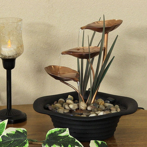 Three Leaf Cascading Tabletop Fountain with LED Lights - ZenWaterFountains.com  - 1