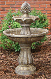 Sunnydaze Two Tier Solar On Demand Fountain-Earth Tone