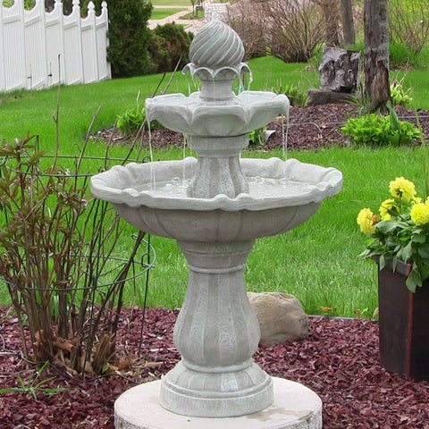 Sunnydaze Two Tier Solar On Demand Fountain- White Earth Finish - ZenWaterFountains.com  - 1